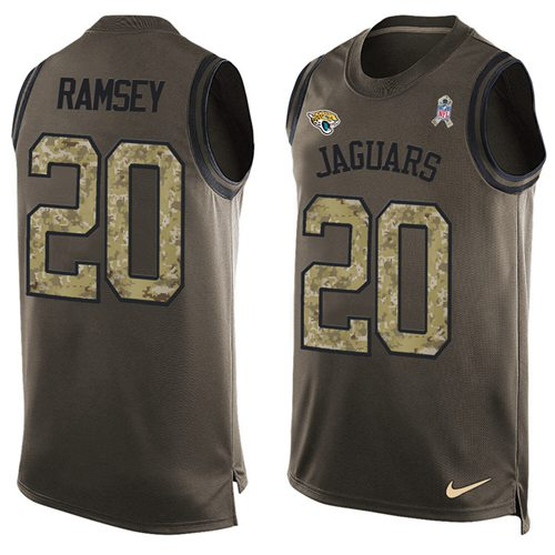 Nike Jaguars #20 Jalen Ramsey Green Men's Stitched NFL Limited Salute To Service Tank Top Jersey